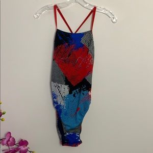 Speedo Endurance + red blue and black swimsuit